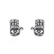.925 Silver Stud Earrings Jewish Hamsa Hand/Evil Eye