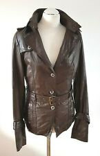 Dreimaster Leather Jacket Belted Brown 8 10 UK