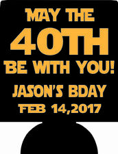 May the 40th be with you 40TH Birthday can coolers star wars party favors SP1305
