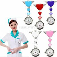 Stainless Steel Cute Heart Nurse Quartz Pocket Clip-on Hanging Brooch Fob Watch