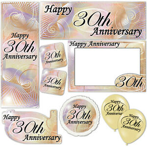 Happy 30th Pearl Anniversary Banners Decorations Balloons Party Supplies