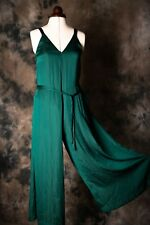 G-Star Raw green maxi jumpsuit trousers v-neck faux silk size XS size 8 or 10