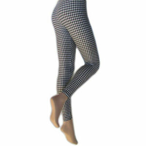 Silky Ladies Fashion Look Leggings Houndstooth Style Added Stretch Size Medium