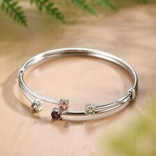 100% 925 Sterling Silver Tourmaline Gemstones Zircon Simple Multicolor Bangle