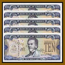 Liberia 10 Dollars x 5 Pcs, 2011 P-27f Unc