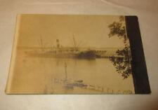 1900s USS Wilhelmina Real Photo Postcard In Port Monthly Trips New York 2 Boys