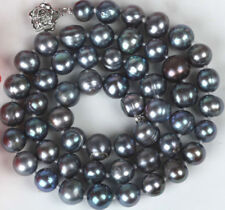 Natural 7-8mm Peacock Black Freshwater Cultured Pearl Necklace 18''