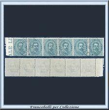 1879 Italia Regno Umberto cent. 5 verde n. 37 Usato Striscia di sei