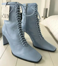 Ladies Zara Leather Lace-up Ankle Boots In Sky Blue UK7 BNWT RRP£95.99 LAST PAIR