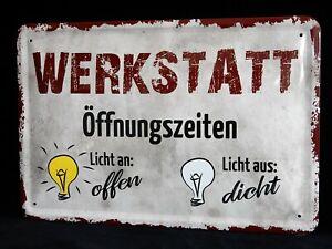 Blechschild Handwerker Arbeit Mechaniker Werkstatt Auto Öffnungszeiten 20 x 30