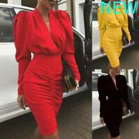 Bodycon Cocktail Evening Long Sleeve Casual V Neck Maxi Dresses Womens Dress