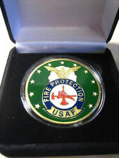 U S AIR FORCE Fire Protection Badge Challenge Coin w/ Presentation Box