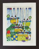 "Friedensreich Hundertwasser ""Pacific Steamer""  Mounted offset Litho 1986"