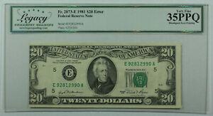 1981 $20 *ERROR* Misaligned Federal Reserve Note FRN Fr. 2073-E Legacy VF-35 PPQ