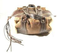 TOUS Med. Tote Bag Brown Italian W/Fur Lining Outside Gold Toned Rings Zipped