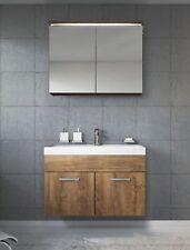Badezimmer Badmöbel Set Paso 02 80 cm Waschbecken Lefkas (Braun) - Unterschrank
