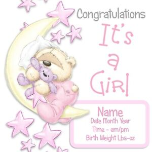 PERSONALISED NEW BABY GIRL CARD-FIZZY MOON-ADD NAME,DATE,BIRTH TIME,WEIGHT