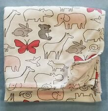 Carters White Swaddle Baby Blanket Pink & Gray Animals Stretch Knit