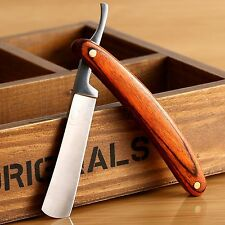 Wood Handle Straight Edge Steel Barber Razor Folding Shaving Knife Razor Shaver