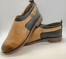 Gee WaWa Leather Handmade Tan Black Buckle Boots Booties Shoes NWOB Sz. 8.5