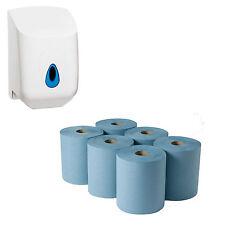 6 PACK 2 PLY BLUE CENTRE FEED PAPER EMBOSSED WIPER ROLLS & WHITE DISPENSER