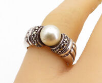 925 Sterling Silver - Freshwater Pearl & Marcasite Fluted Band Ring Sz 8- RG3698