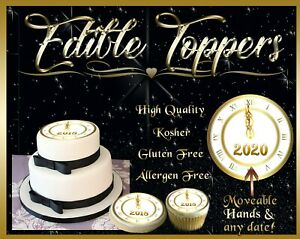 2020 New Year's Eve Clock edible Cake toppers picture transfer sugar cupcakes