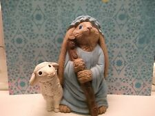 VTG.CERAMIC  BUNNY,RABBIT-SHEPARD CLOTHES WITH SHEEP/LAMB AT HIS SIDE-XMAS,EASTE
