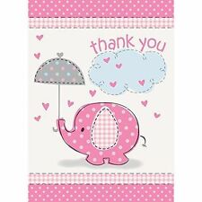 Unique 41675 Elephant Girl Baby Shower Thank You Cards - Pink
