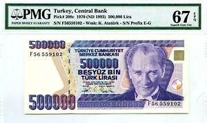 TURKEY 500,000 LIRA 1970 ND 1993 CENTRAL BANK PMG GEM UNC PICK 208 c VALUE $90