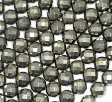 """14MM PYRITE GEMSTONE FACETED ROUND LOOSE BEADS 7.5"""""""