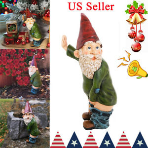 Christmas Ornament,Novelty Light Up Garden Statue,Pants Down Gnome courti Garden Gnome On A Toilet Lawn Garden Figurine 5.12.42.7inch Finger Statue