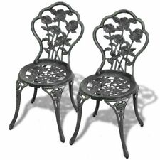 vidaXL 2 pcs Bistro Chairs Outdoor Patio Dining Chairs Green Cast Aluminium