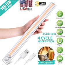 160 LED Closet Light PIR Motion Sensor Cabinet Night Wall Lamp USB Rechargeable