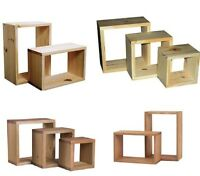 Wooden Wall Cube Cubes Shelf Storage Book Case Unit Wood CD Storage Natural Wood
