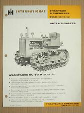 Prospectus IH INTERNATIONAL Tracteur Chenilles TD9 5 Gal MAC CORMICK Brochure TP