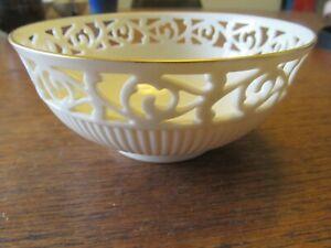 "Lenox Pierced Tracery Small Candy Bowl Dish Cream 24k Gold Trim 5 3/8"" x 2 3/8"""