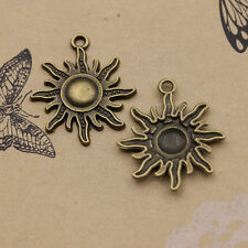 12 pc Retro Lovely Sun Tibetan Sliver Charms Pendant 28*23mm  bronze