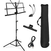 Portable Professional Music Stand, Collapsible Set With Clip,LED Light And Bag