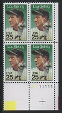 ALLY'S STAMPS US Plate Block Scott #2417 25c Lou Gehrig Baseball [4] MNH [STK]
