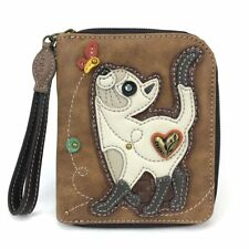 NEW CHALA SLIM CAT KITTEN ZIPPERED WALLET BROWN WHITE GRAY
