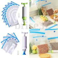 20PCS Vacuum Food Storage Bags Sealer Packaging Manual W/ Hand Pump Kitchen Tool