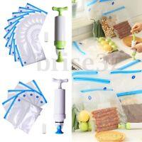 20PCS Vacuum Food Storage Bags Sealer Packaging Manual W/ Hand Pump Kitchen