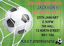 PERSONALISED INVITES CHILDRENS / BOYS FOOTBALL BIRTHDAY PARTY INVITATIONS X 8