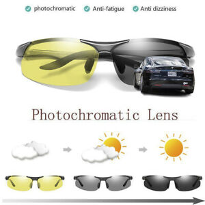 Men's Polarized Transition Photochromic Sunglasses Driving Sport Shades Glasses