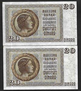 20 Dinara 1936 Yugoslavia Consecutive Serial Lot 2 Banknotes SN:1447990-91 # 30