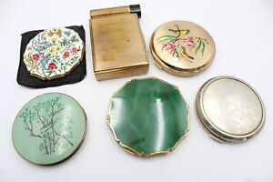 6 x Vintage Ladies Vanity STRATTON Compacts Inc Enamel, Gold Tone, Signed Etc