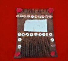 VINTAGE OLD UNIQUE SHAPE GLASS FITTED WOODEN HANDMADE TRIBAL LADY HAIR COMB K4