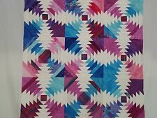 Unfinished Quilt Top -Pineapple Design, Lt& Dk Blue, Lt&Dk Pink,approx 35.5x35.5
