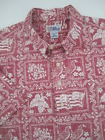 Mens XL Reyn Spooner Hawaiian Flag goose red hawaiian shirt
